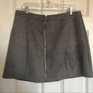 Paneled Gray Faux-Suede Mini Skirt